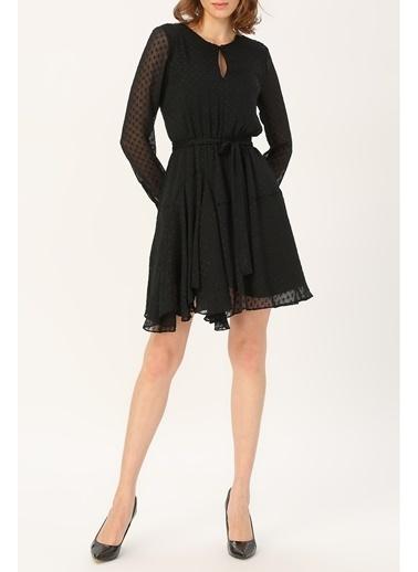 Random Kadın Asimetrik Kesim Belden Bağlamalı Elbise Siyah